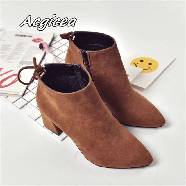 Pointed Toe High Heels Women Boots Basic Shoes Autumn And Winter Casual Female Ankle Boots Single Fashion snow boots 2