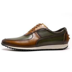 Image 4 - גדול גודל 15 Mens סגנון נעליים יומיומיות אמיתי עור יד צבוע אוקספורד חום ירוק שרוכים אופנה רחוב תמונות גברים של דירות