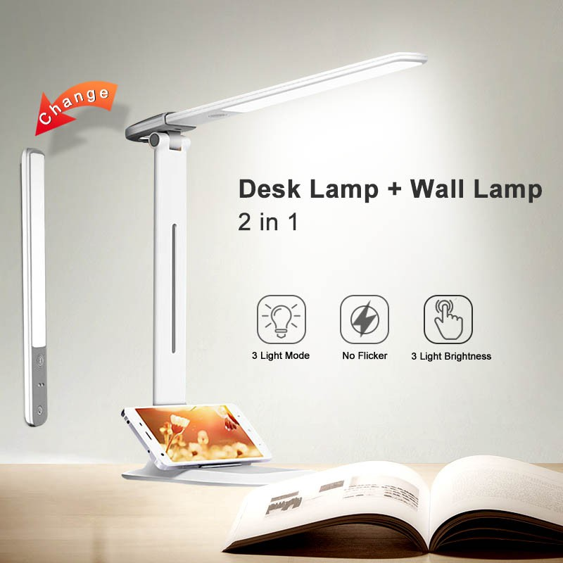 2020 New Two-in-One Detachable LED Desk Lamp 3 Mode Lighting Brightness Rechargeable USB Learning Table Lamp for Study