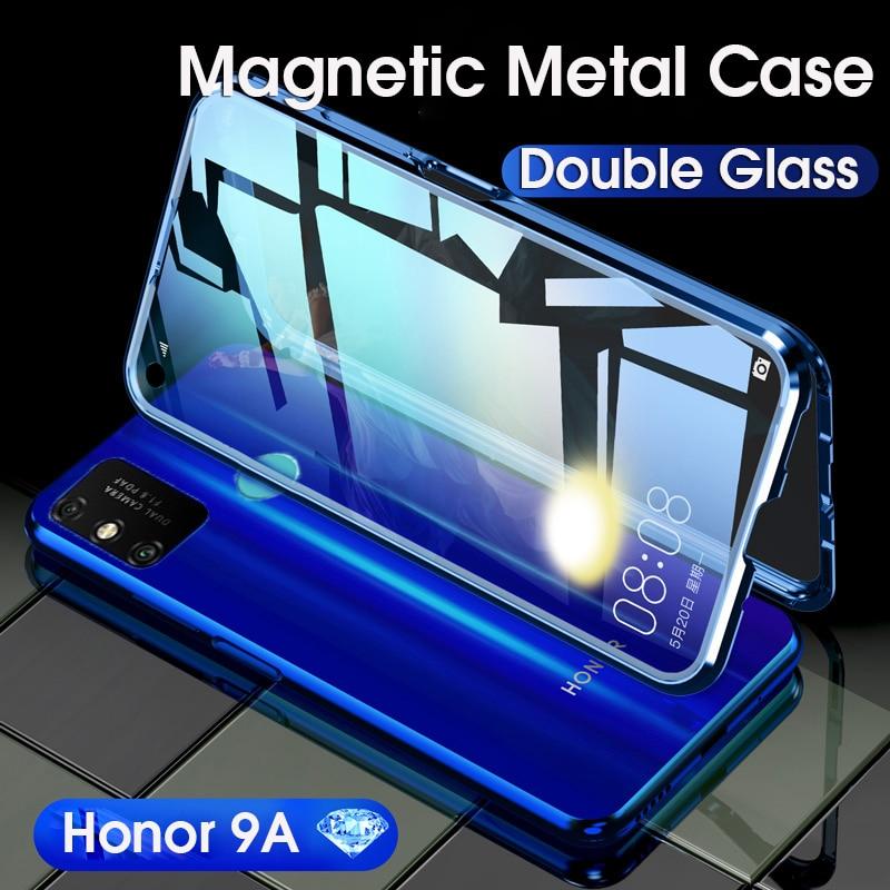 Магнитный металлический чехол для Huawei Honor 9A V20, двухсторонний чехол из закаленного стекла, чехол для Honor Play 9A View20 с полной защитой на 360 °