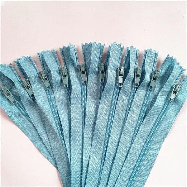 10 шт. 3 дюйма-24 дюйма(7,5 см-60 см) нейлоновые застежки-молнии для шитья на заказ нейлоновые молнии оптом 20 цветов - Цвет: light blue