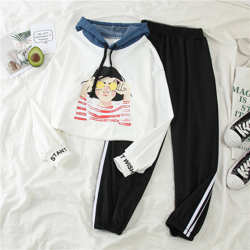2019 New Women's Sports Suit] Autumn INS Women's Korean Long-sleeved + Loose Nine-point Pants Two-piece