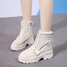 New Winter Women Ankle Snow Boot Leather Fur Wedges Warm Plush Rubber Platform L
