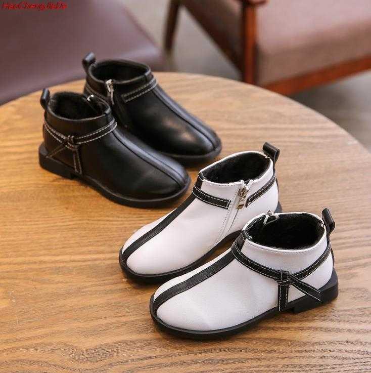 ฤดูใบไม้ผลิฤดูใบไม้ร่วงแฟชั่นรองเท้าสำหรับเด็กหญิง PU หนังนุ่มเด็ก Martin Boots ฤดูหนาวสบายๆวัยรุ่นรองเท้า 26-36