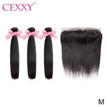 Pacotes retos com frontal cabelo brasileiro tecer pacotes com fechamento frontal remy cabelo 13*4 laço frontal extensão do cabelo