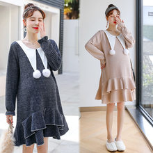 Maternity Plus Size Sweatshirt Dress Winter Maternity Dresses for Photo Shoot Pregnant Sweater Women Sweater Dress Pregnancy(China)