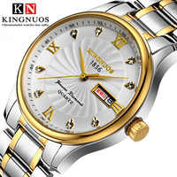 KINGNUOS Fashion Classic Men Dermis/Stainless Steel Strap Watch Men's Luxury Push Button Hidden Clasp Quartz Wristwatches