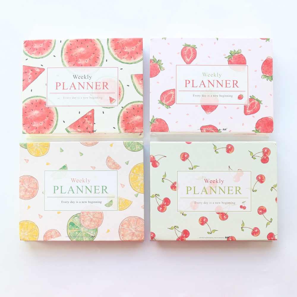 Domikee 2020 New Cute Fruit Daily Weekly Planner Notebook,kawaii Daily Schedule Agenda Planner Organizer Stationery A5