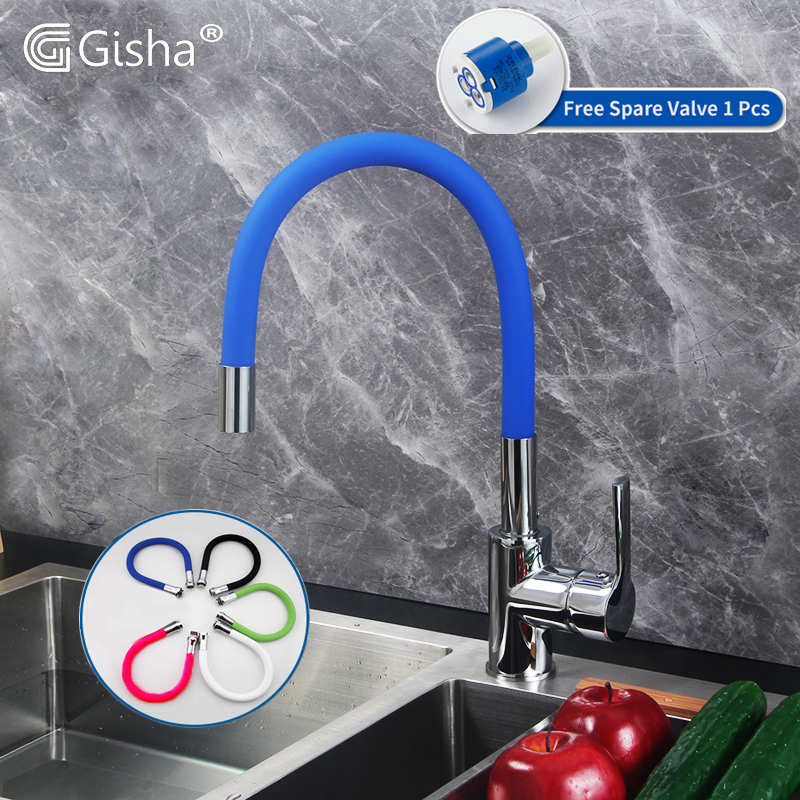 Gisha 5color Pipe Flexible Neck Kitchen Sink Faucet Universal Pipe Hot Cold Mixer Tap Kitchen Deck Mounted Kitchen Tap 2G2014