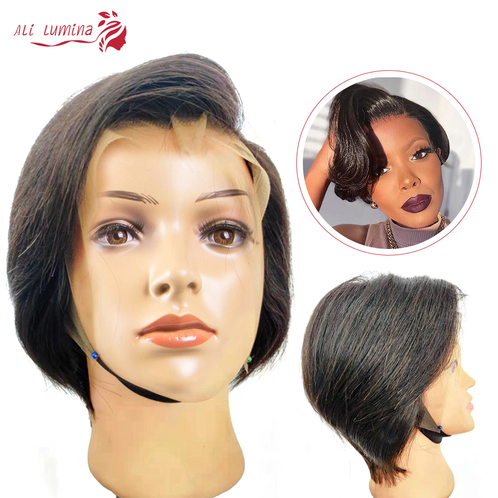 Pixie Cut Bob Lace Front  Wigs Natural Black 13*4 Straight Lace Front Wigs Short  Alilumina 2