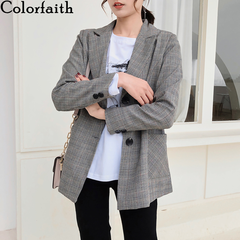 Colorfaith New 2020 Spring Autumn Women's Blazers Plaid Pockets Single Breasted Formal Jackets Notched Outerwear Tops JK1243
