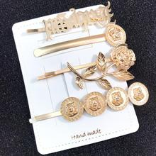 1Set Paint Gold Hairpins Fashion Metal Geometry Women Hair Clip BB Clips Handmade Barrette Accessories Headband