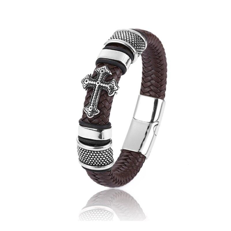 Bracelet en cuir homme breloque 12*6 noir tissé  5