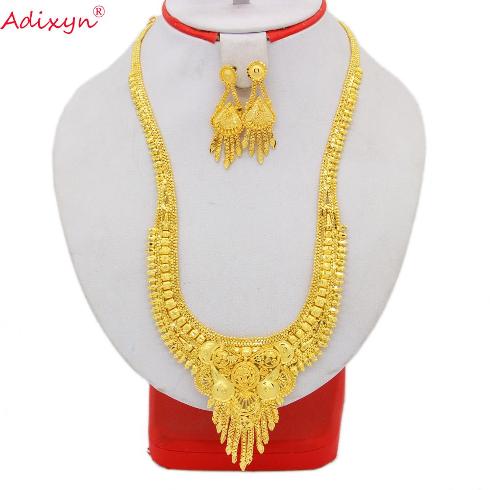 Adixyn Ethiopian Tassel Necklace/Earrings Wedding Jewelry Set For Women Gold Color/Copper African/Dubai Party Gifts N05212