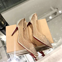 2019 summer Classic Women's Fashion Single Shoes Pointed Rhinestone Mesh Breathable High Heels Red Bottom