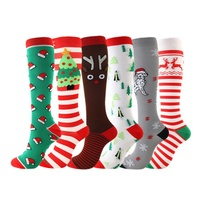 6 Pair Compression Socks Knee High/Long Christmas Cap Tree Deer Striped Printed Polyester Nylon Hosiery Footwear Sports Socks