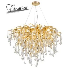 Image 5 - Nordic Luxury Gold Crystal LED Chandelier LOFT Villa Large Lustre LED Pendant Lamp for Living Room Hotel Hall Art Decor Lighting