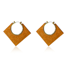 DREJEW Big Geometric Square Red Blue Brown Hoop Earrings 2019 Statement Stainless Steel Alloy for Women Wedding HE9461