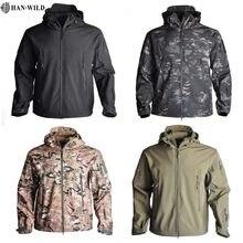 HAN WILD – veste de randonnée en peau de requin pour hommes, veste tactique, coupe-vent, pilote de vol, veste militaire à capuche en polaire, S-4XL