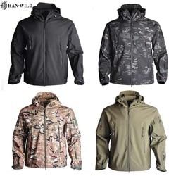 HAN WILD Hiking Jackets Shark Skin Soft Tactical Jacket Mens Windbreaker Flight Pilot Hooded Military Fleece Field Jacket S-4XL