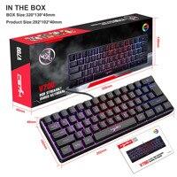 Iluminación RGB retroiluminado 61-clave Multimedia USB Juegos por cable del teclado de membrana adecuado para escritorio portátil Tablet mecánica contacto