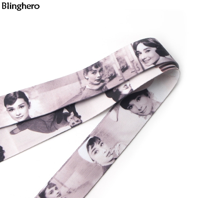 Blinghero Audrey Hepburn Lanyard Roman Holiday keys Phone ID Badge Holder Neck Straps Hang Ropes Lanyards BH0198