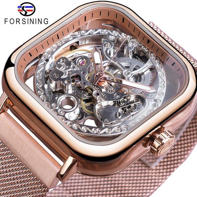 Forsining רוז זהב אוטומטי כיכר גברים שעון שלד רשת נירוסטה בנד עצמי רוח מכאנית שעוני יד 2019 Relogio