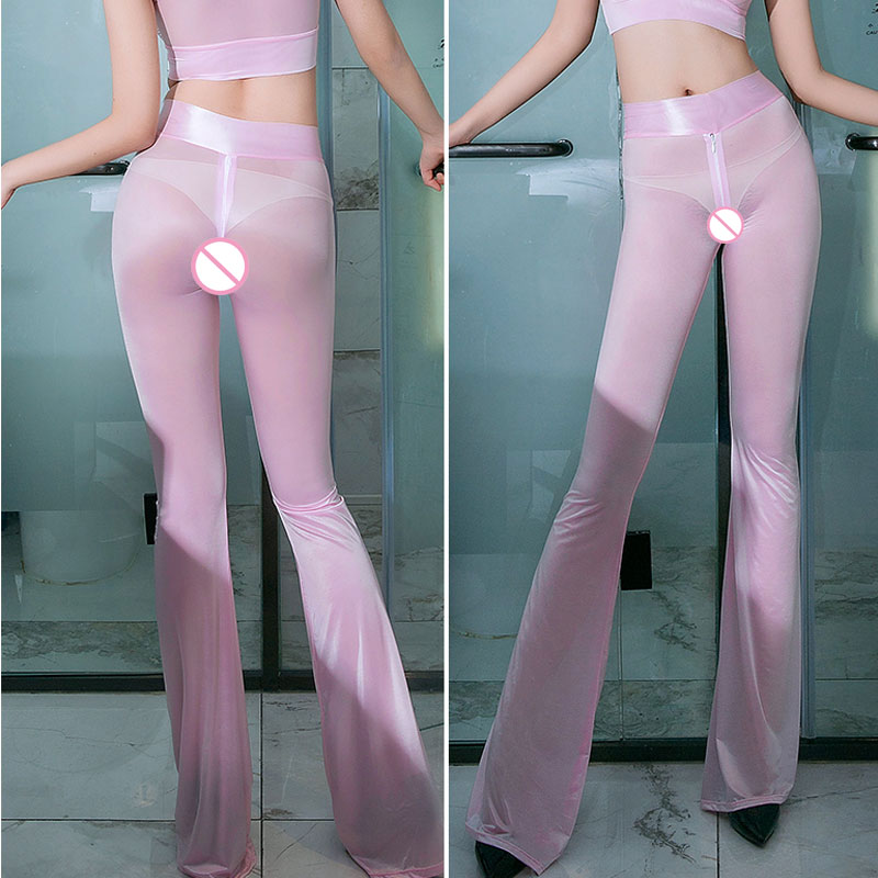 Sexy Shiny Zipper Open Crotch Flare Pants Hollow Out Crotchless Smooth Sexy Hips Capris High Waist See Through Sexy Pants F20
