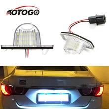 2 Pcs 18 LED Lamp Number License Plate Light for Honda Fit Jazz Odyssey Stream Insight CRV FRV HR-V Crosstour 5D DXY White
