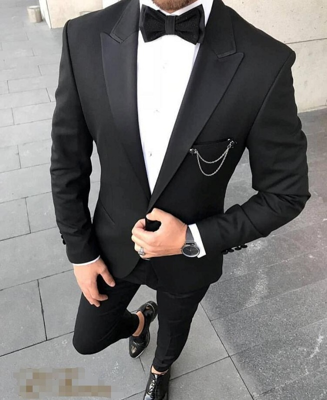 Wedding Tuxedos Man Party Dinner Wear Suits Slim Fit Groom Outfit Groomsmen Cheap Formal Prom Suits Two Pieces (Jacket +Pants)