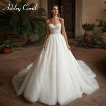 Свадебное платье трапециевидной формы Ashley Carol 2020 Vestido De Noiva, сексуальное свадебное платье без рукавов с отделкой бисером для невесты, пляжные свадебные платья на шнуровке