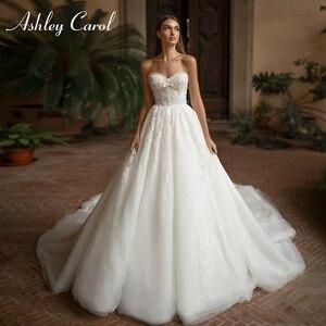 Image 1 - Ashley Carol A lijn Trouwjurk 2020 Vestido De Noiva Sexy Kralen Sweetheart Mouwloze Bruid Lace Up Strand Bruidsjurken