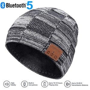 Image 1 - Moda música malha fone de ouvido chapéu chamada música escuta torção cheque mais veludo inverno quente fone de ouvido chapéu
