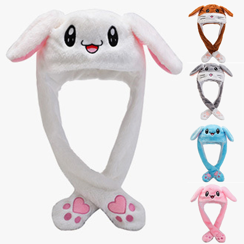 Women Girls Warm Funny Plush Bunny Hat Rabbit Ears Moving Jumping Light Up Cap for Party Gift
