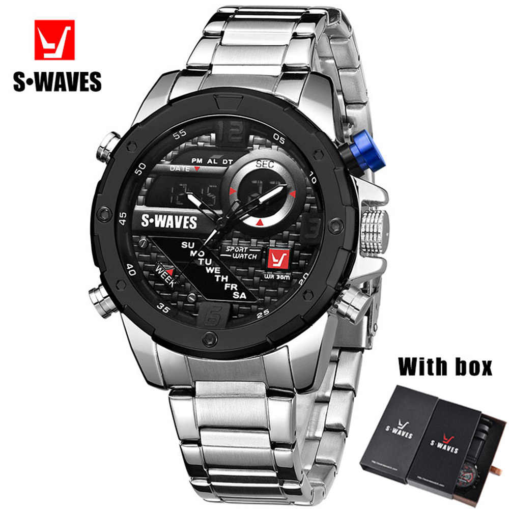 Quartz Military Watch Men SWAVES Brand Dual Display Stainless Steel Men's Wrist Watches With Box Waterproof Unique Reloj Hombre