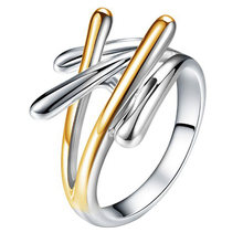 New Fashion Jewelry Gold & Silver Color Cross Rings For Women Female Party Finger Ring Size 6 7 8 9(China)