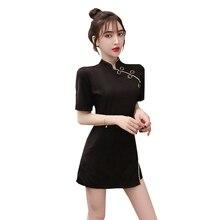 Китайское платье cheongsam винтажное элегантное платье qipao вечернее платье женское с коротким рукавом сексуальное платье Ципао с разрезом костюм набор
