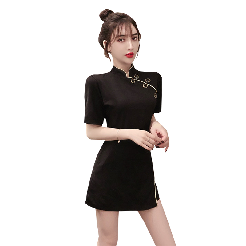 2020 Chinese Dress Cheongsam Vintage Elegant Qipao Dress Evening Party Gown Female Short Sleeve Sexy Split Qipao Suit Set