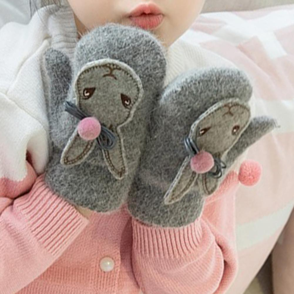 Trendy Lovely Children Girls Winter Outdoor Cute Cartoon Rabbit Pompom Gloves Warm Mittens Gloves For Children Toddler Kids