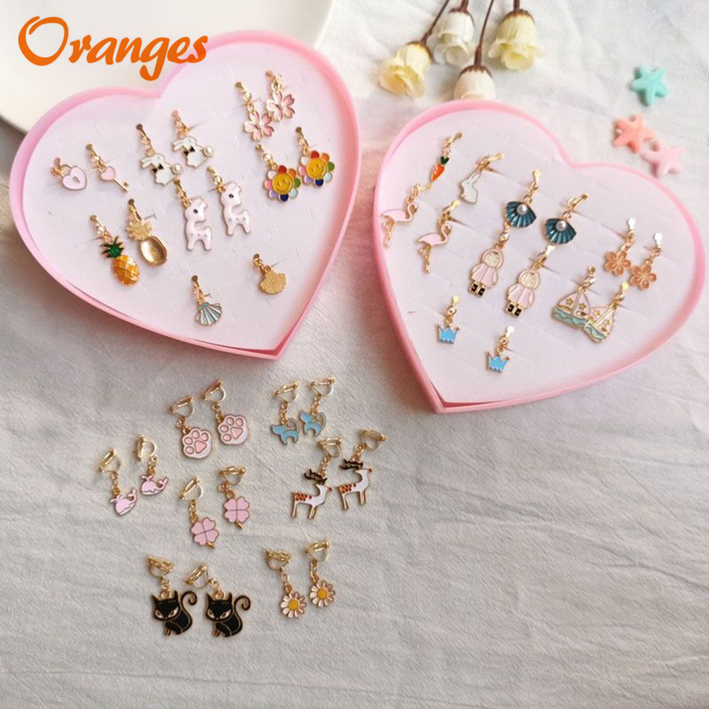 Clip On Earrings Kids Cute Cartoon Fashion Enamel Ear No Piercing Ear Rings For Children Gift Jewelry Korean Ear Clip For Girls