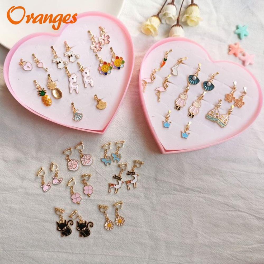 Clip On Earrings Kids Cute Cartoon Fashion Enamel Ear No Piercing Ear Rings For Children Gift Jewelry Korean Ear Clip For Girls