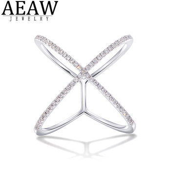 AEAW 18k white Gold DF Round Cut Engagement&Wedding band Moissanite Lab Grown Diamond Band Ring for Women image
