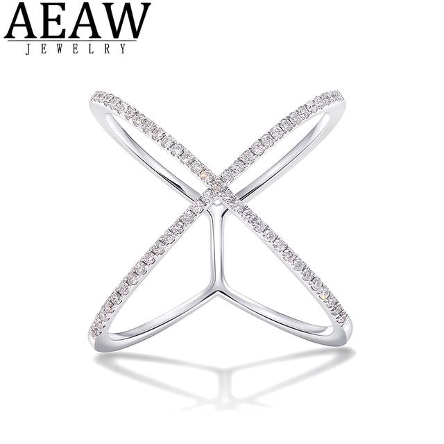AEAW 18k white Gold DF Round Cut Engagement&Wedding band Moissanite Lab Grown Diamond Band Ring for Women