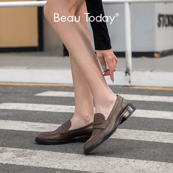 dongnanfeng women female old mother shoes flats loafers casual slip on cow genuine leather pu bow round toe spring 34 43 qbl 922 BeauToday Penny Loafers Women Genuine Cow Leather Sewing Round Toe Slip On Spring Autumn Ladies Casual Flat Shoes Handmade 27177