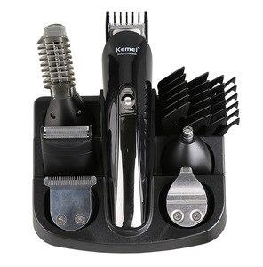 Image 5 - 100 240V kemei 6 ב 1 חשמלי מכונת גילוח שיער גוזם titanium שיער קליפר גילוח מכונת חיתוך האף זקן גוזם גברים גילוח