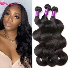 Aopusi натуральные волнистые бразильские вплетаемые волосы пряди 100% человеческие волосы, длинные пряди для Для женщин Remy Пряди человеческих в...
