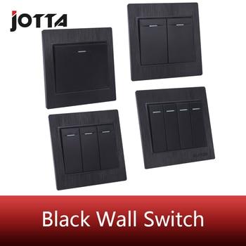 цена на Jotta Luxury Black 1 gang 2 way/2 gang 2 way 3gang 2way/4gang 2way Home Wall Switch 250V 10A Push Button Switch Panel