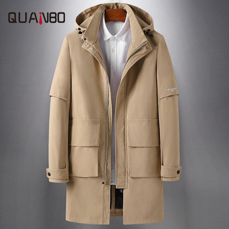 QUANBO Men's Hooded Trench Coat Khaki Black Windbreaker Long Jacket