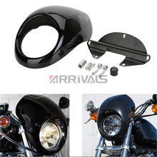 Motorcycle  Black Headlight Fairing For Harley 883 1200  Front Fork Mount Dyna Sportster XLCH