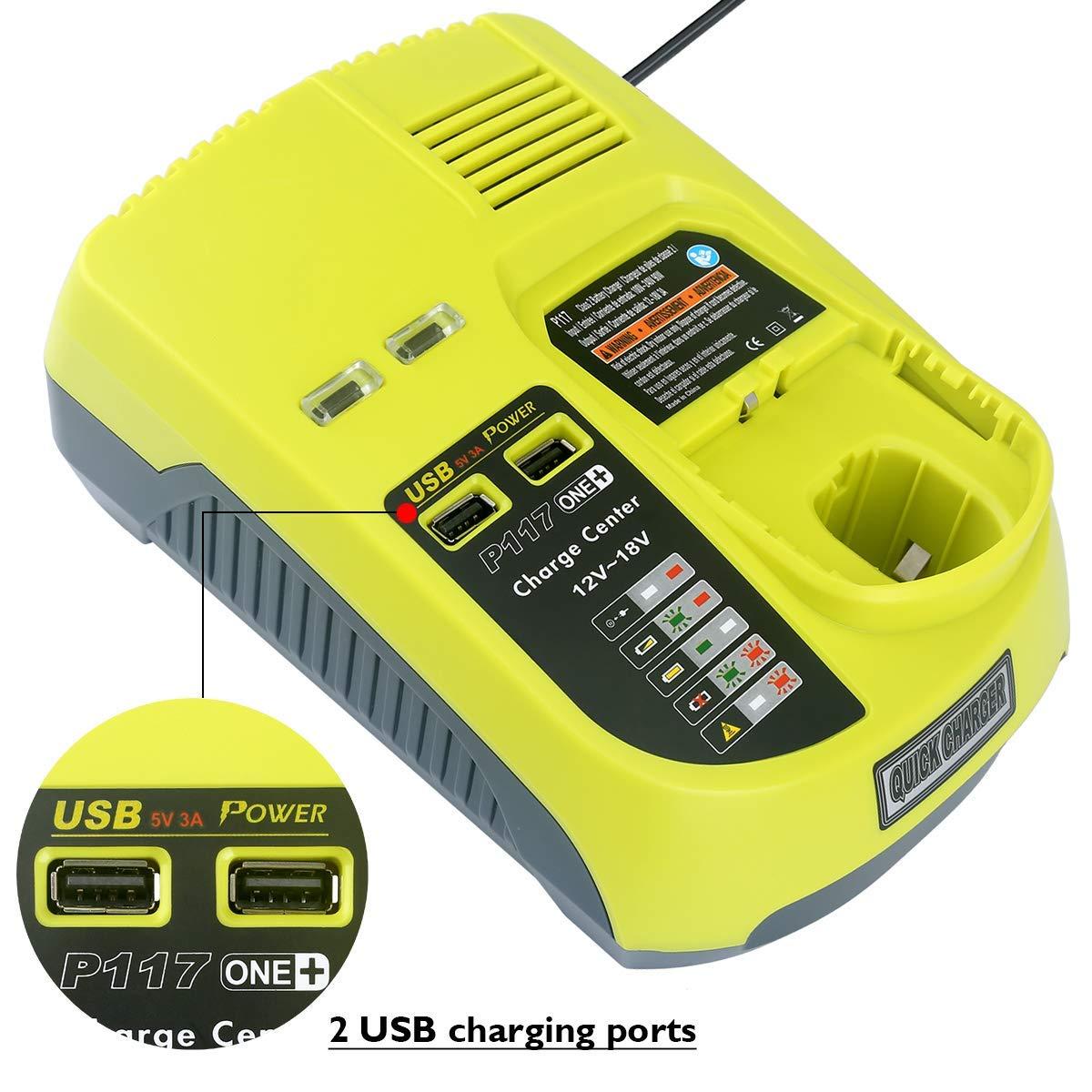 For Ryobi ONE+ 18V 6.0Ah Li Ion Rechargeable Battery P108 + New P117 Charger for Ryobi 9.6V 18V Ni Cad Ni Mh Li ion Battery - 6